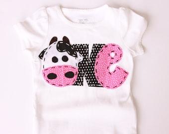 Farm birthday shirt, one, cow, 1st,  t shirt, barnyard, farm theme, girl pink, barn yard, first,