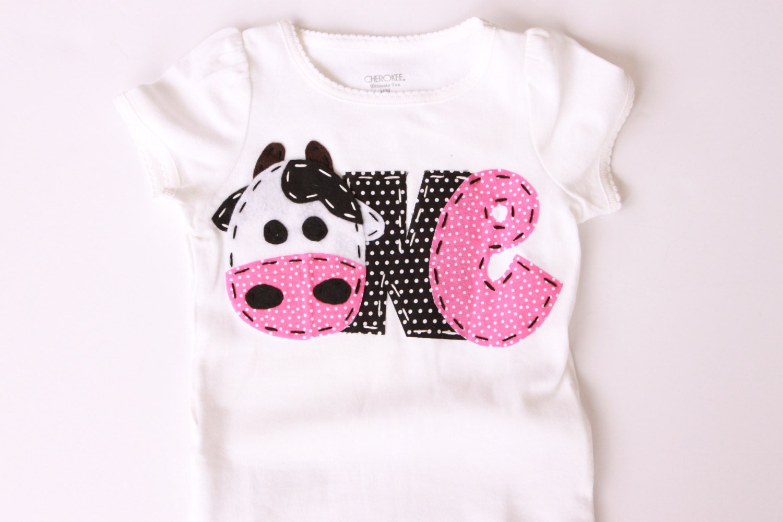 Farm birthday shirt one cow 1st t shirt barnyard farm