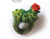Cactus ring with red flower hand felted cactus felt succulent pincushion ring