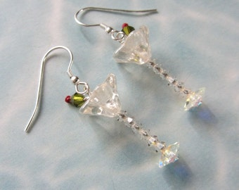 Martini Glasses Earrings with Olive and a Pimento - Artisan - Free US Shipping - Price Reduced