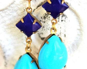 Turquoise Navy Aqua Blue Pear Tear Drop Vintage Navy Blue Square Drop Dangle Earrings - Bridal,Preppy,Beach,Bridesmaid Earrings,WeddingAQ