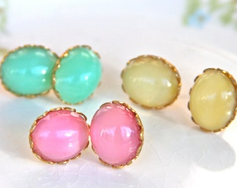 Moonstone Oval Glass Rhinestone Post Earrings - 3 Pair- Scalloped Lacy Brass Pink Mint Green Yellow Earrings - Bridesmaids, Bridal - Vintage