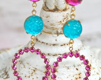 Aqua Blue Fuchsia Pink Magenta Rhinestone Gold Vintage Drop Dangle Statement Earrings - Wedding,Preppy,Beach,Bridesmaid
