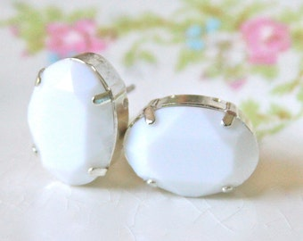 Alabaster White Oval Faceted Post Earrings - Wedding, Beach, Bridal, Bridesmaid Earrings