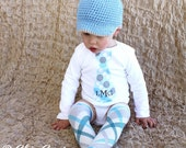 Baby Boy Monogrammed Personalized Tie Bodysuit. Polka Dots of Baby Silver Blue, Gray, and Shades of Blue. Aqua, Teal, Yellow. Summer Wedding