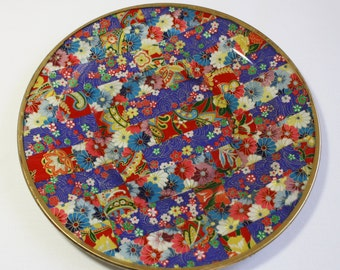 Asian Style Decoupaged Glass Plate: Primary Stripes