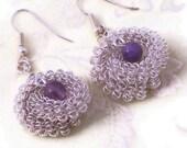 Wire Wrapped Earrings, Amethyst Earrings, Dangle Earrings, Gemstone Earrings, UK Seller