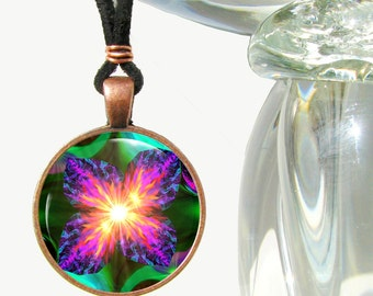 """Chakra Art Necklace, Reiki Violet Flame Pendant, Unique Jewelry """"Chakra Flower"""""""