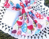 Mori Girl Woodland Pink Mushroom Plain Jane Fabric Hair bow Clip
