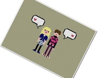 Bernadette & Howard - The *Original* Pixel People in Love - PDF Cross-stitch Pattern - INSTANT DOWNLOAD