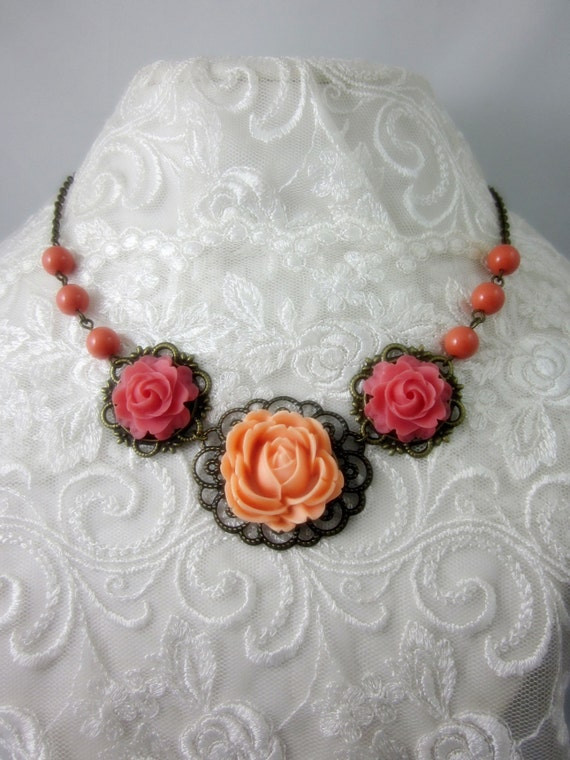 Peach and Coral Roses with coral swarovski pearls Necklace. Bridal Jewelry. Bridesmaid Gift. Maid of Honor.