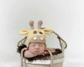 Crochet giraffe hat 0-3 months
