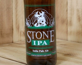 Upcycled Stone Brewing IPA 16 ounce glass made from a beer bottle