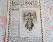 March 1896 EDWARDIAN LADIES WORLD Magazine Women Household Decor Fashion Needlework Children Poetry Story Downton Abbey Era Pristine Antique