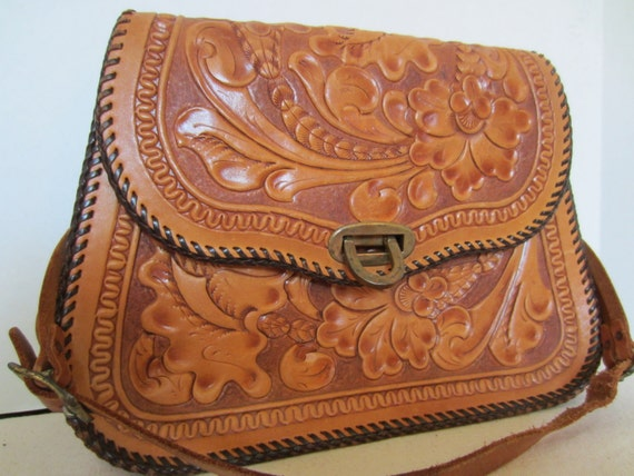 Leather Tool Tote Bags Tooled Leather Bag With