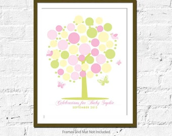 Guestbook Baby Shower Poster , Modern Tree - 16X20, Baby shower gift, celebration, Newborn