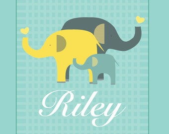 Birth Announcement, Elephant Family, 8.5X11, Newborn gift, Baby gift, Nurdery decor, Play room decor