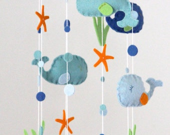Whale Baby Mobile- U Pick Colors