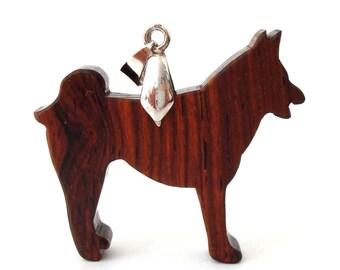 Akita Malamute Dog Pendant Necklace Cocobolo Hand Cut Wood Jewelry Pendant Scroll Saw