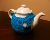 Lacy modern TEA COZY in teal - cotton crochet