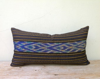 "Retro Ethnic Textile Blue Silk Ikat Hand Woven  Decorative Throw Pillows Case 12"" x 22"" Pieces Of Tradition Costume"