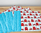 Quilted Placemats Blue Turquoise Red Modern