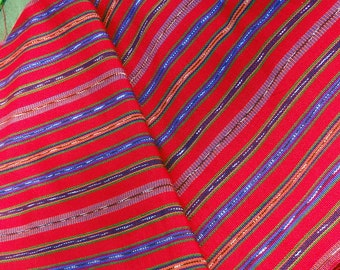 Guatemalan Fabric Red with Purple and Orange Stripes