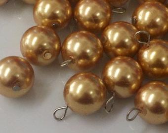 40 Pieces 14 mm  Vintage Bronze Color  Glass  Pearl Dangles, Drops,