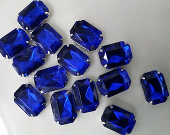 12 Pieces of 13 x 18 mm, Sapphire  Acrylic Octagon Rectangle Rhinestone, Jewels, Cabochon With Silver Prong , Sew on Setting.