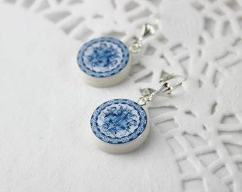Blue White Gzhel Polymer Clay earring