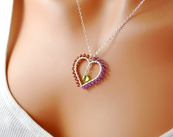 Mother of the Bride Groom Jewelry Wire Wrapped Heart Birthstone Necklace Mom Custom Sterling Silver Genuine Semiprecious Gemstone Pendant