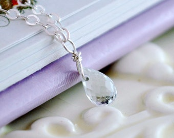 April Birthstone Necklace, White Topaz Jewelry, Genuine Gemstone, Sterling Silver, Child Necklace