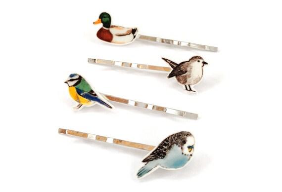 Illustrated bird hair clip set