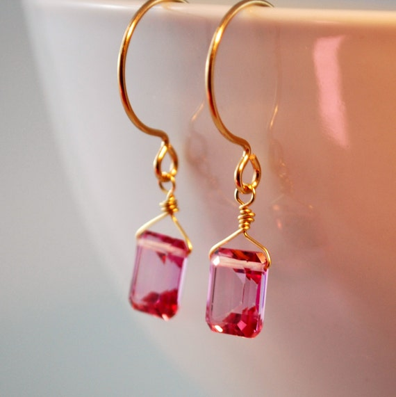Pink Topaz Earrings Emerald Cut AAA Semiprecious Gemstone Fuchsia Hot Pink Wire Wrapped Gold Jewelry Complimentary Shipping