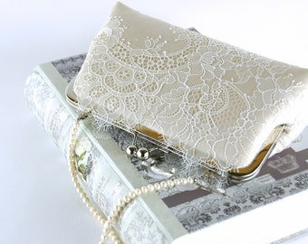 Bridal clutch, Chantilly Lace  Silk Clutch in Ivory on Champagne, wedding clutch, wedding bag, Bridal clutch