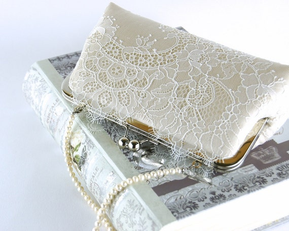 Bridal Clutch Chantilly Lace Silk Clutch In Ivory On