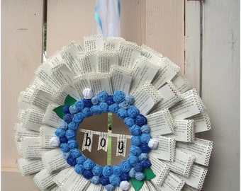 Handmade Book Wreath crepe roses Large size