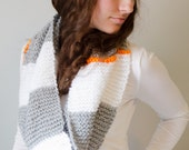 Chunky Neon and Neutral, Infinity Scarf, Cowl, Grey and White, Neon Orange, Hand Knit