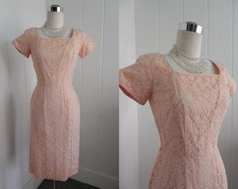 1950s Vintage PalePeachy  Pink Lace Wiggle Dress by Mr. Marsh VLV