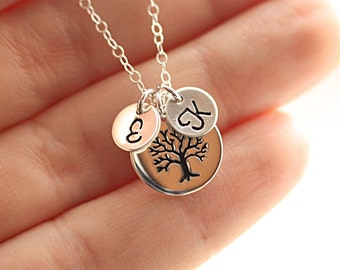 Personalized Mother's Necklace, Two Sterling Silver Initial Charms, Family Tree Necklace, Grandmom's Necklace -  Tree of Life