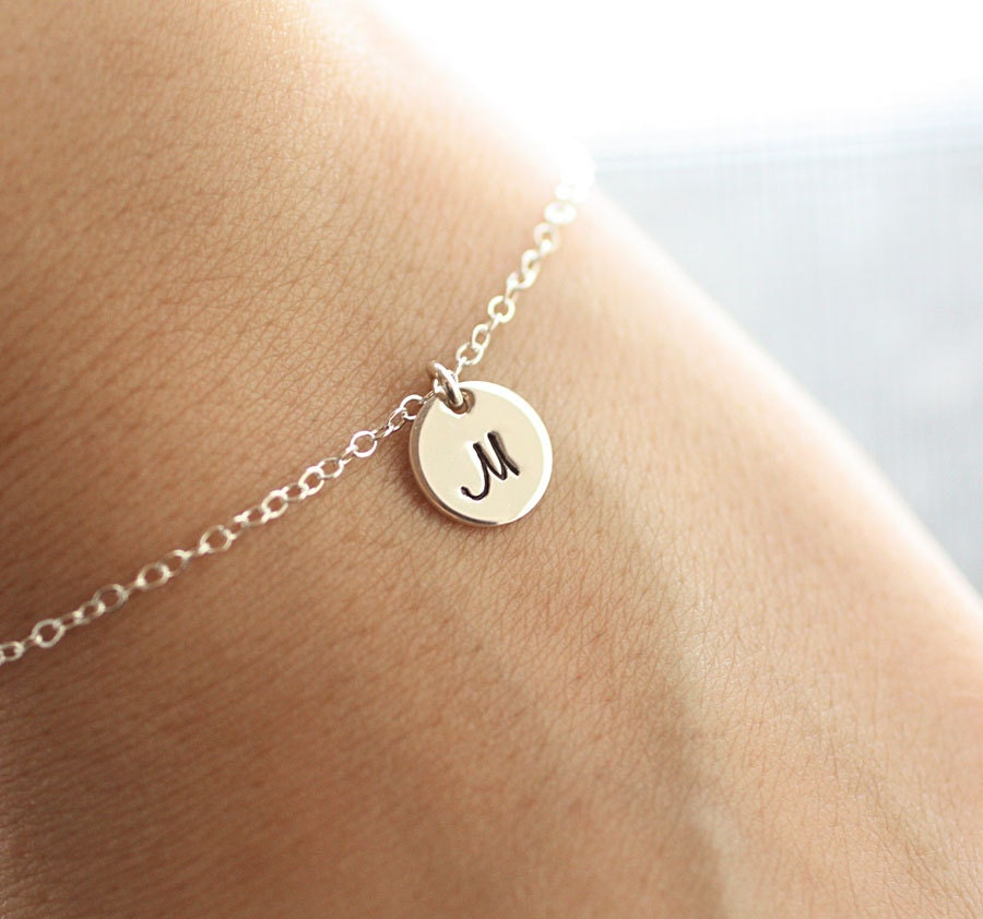 Initial Charms For Bracelets: Sterling Silver Initial Bracelet Initial Charm Dainty