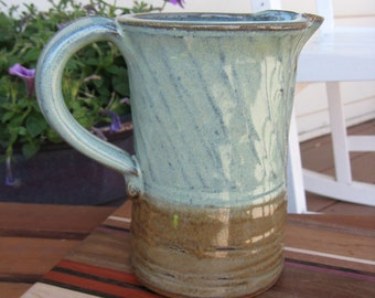 Ceramic Pitcher Diagonal Stripe Texture in Green and Bronze Brown READY TO SHIP