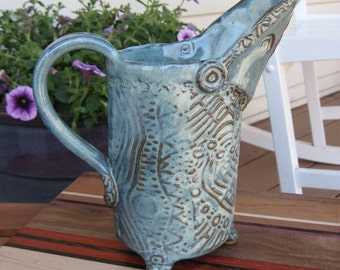 Ceramic Water Pitcher Celtic Knot Textured Tripod in Teal Green READY TO SHIP