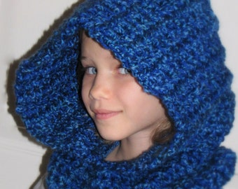 Toddler Child Women SCOODIE - Blues w Navy or Virtually Any Color - Hat - Cowl - Winter Fall - Crochet