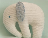 Stuffed Chenille Elephant, White, ears are White with Blue Chevron Print