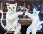 Social Cats Artwork 11x14 Reproduction Print of Original Acrylic Painting Cats having drinks in Bar Girls Night out