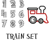 Digitizing Dolls Train Applique & Train Track Number Set Embroidery Design Numbers 0-9  INSTANT DOWNLOAD