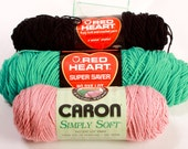 Lot of 3 Skeins of Red Heart and ,Caron simply soft