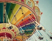 """Carnival Photograph - Spinning Flying Swings - Fair Rides - Colorful Vintage Inspired - Kid's Decor - Fine Art Photo - """"Sky High"""""""