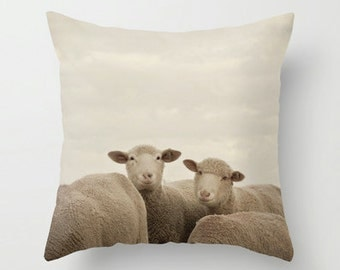 Pillow Case - Smiling Sheep - Nature Home Decor - Neutral Beige - Pillow Cover  - Fine Art Pillow - 16x16 18x18 20x20